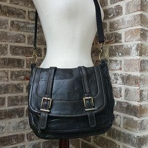 The Sak Soft Leather Black Flap Crossbody Bag